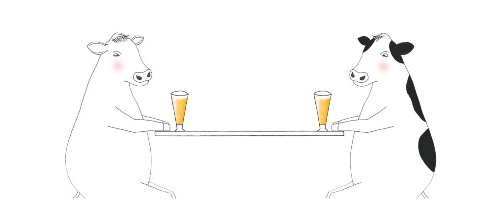 イラスト ビールを飲む牛たち 丑年