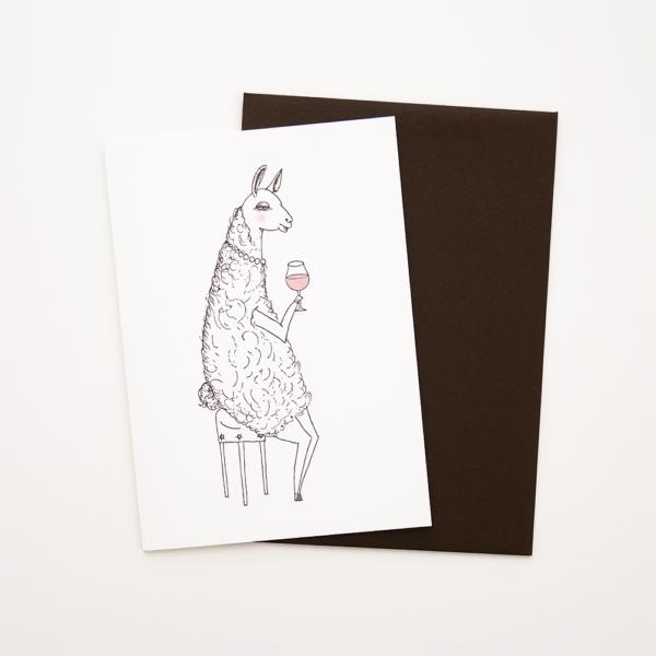 pompettes ラマ グリーティングカード 表 活版印刷 封筒付き