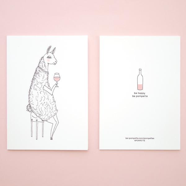 pompettes ラマ グリーティングカード 表裏 活版印刷