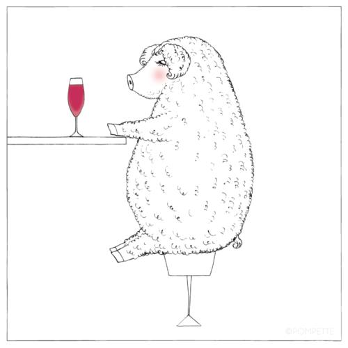 イラスト カクテルを飲むマンガリッツァ豚