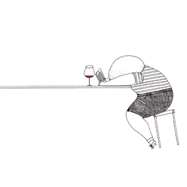 イラスト ワインを飲みながら本を読む女の子