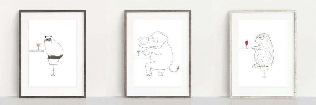 フレーム入りポスター ネコ ゾウ ブタのイラスト