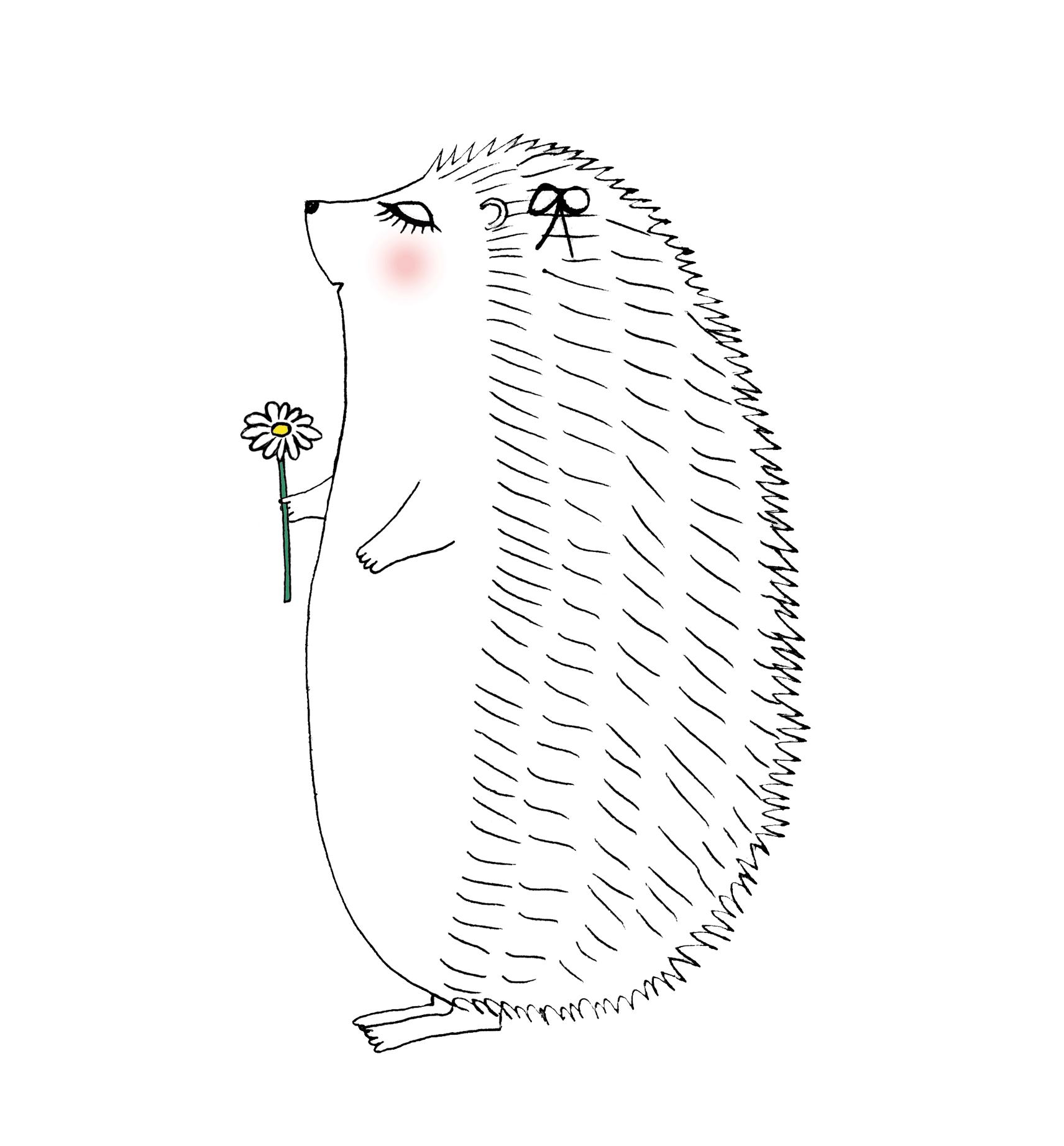 タンポポを持つハリネズミのイラスト