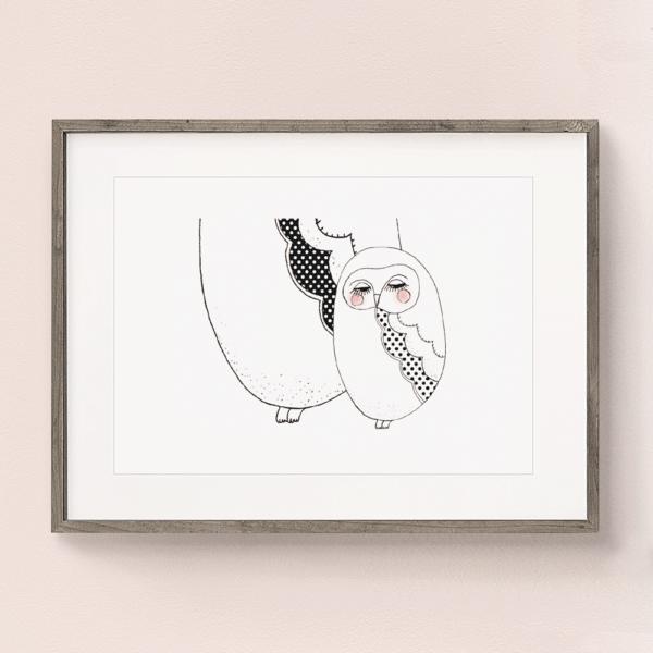 フレーム入りアートプリント 赤ちゃんフクロウのイラスト