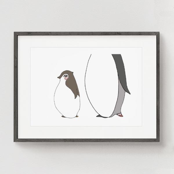 フレーム入りアートプリント 赤ちゃんペンギンのイラスト