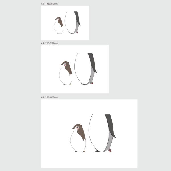 アートプリントのサイズ表 赤ちゃんペンギン