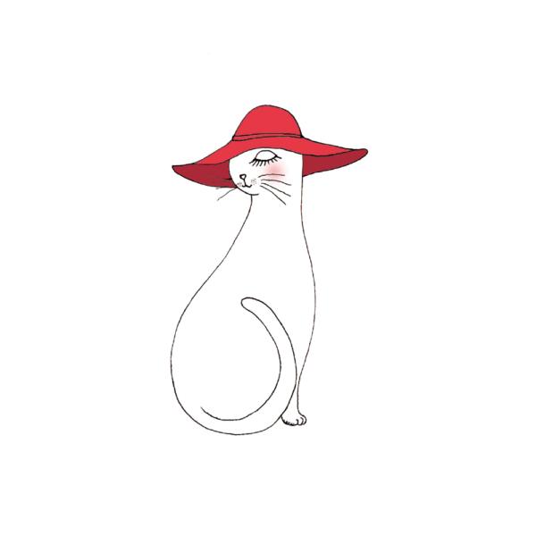 イラスト 赤い帽子をかぶったネコ