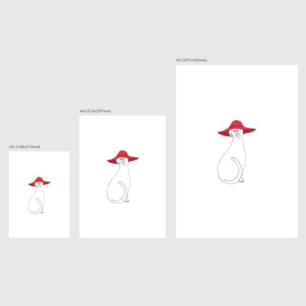 アートプリントのサイズ表 赤い帽子をかぶったネコ