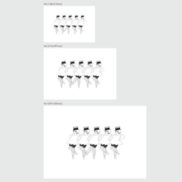 ダンシングガールズのポスターのサイズ表
