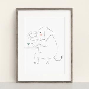フレーム入りポスター ゾウのイラスト