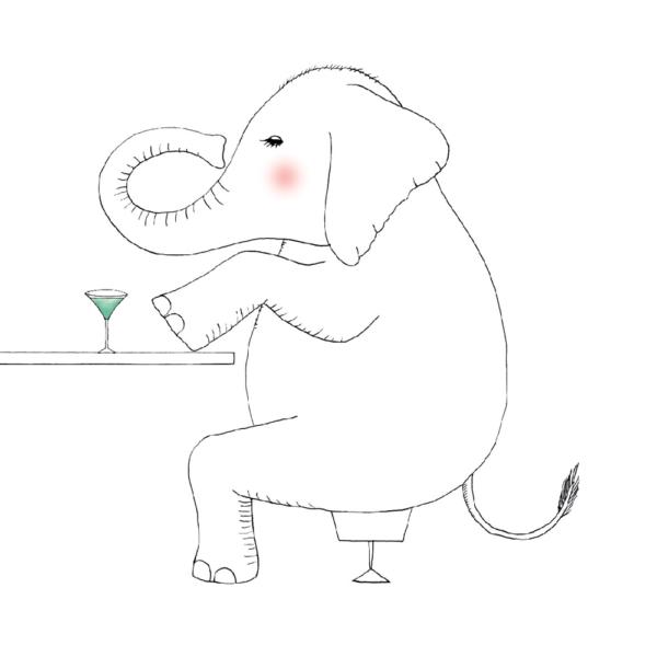 イラスト カクテルを飲むゾウ