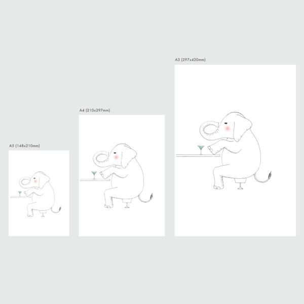 アートプリントのサイズ表 ゾウ