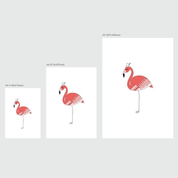 アートプリントサイズ表 フラミンゴ