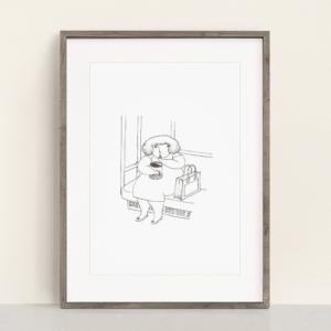 フレーム入りポスター 金平糖を食べる女の子のイラスト