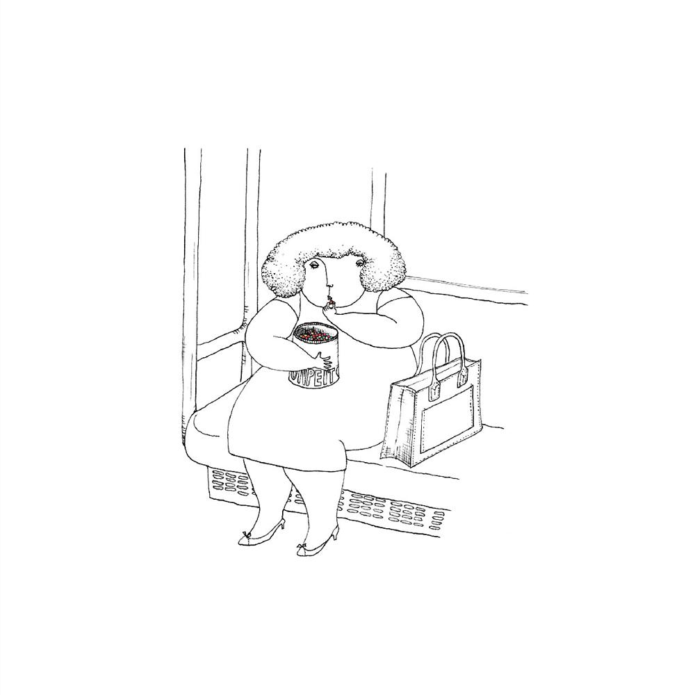 金平糖を食べる女の子のイラスト
