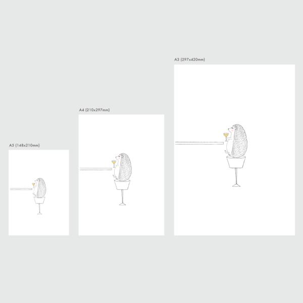 ハリネズミのポスターのサイズ表
