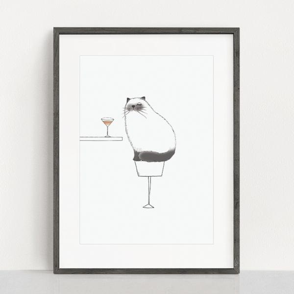 フレーム入りポスター ヒマラヤン猫のイラスト
