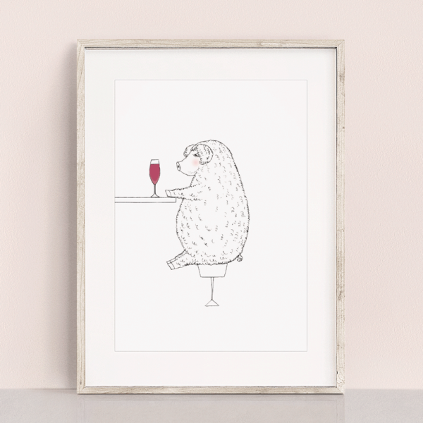 フレーム入りポスター マンガリッツァ豚のイラスト