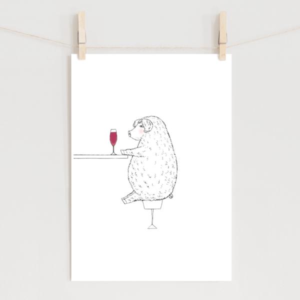 ポスター マンガリッツァ豚のイラスト