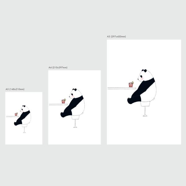 パンダのイラスト ポスターのサイズ表