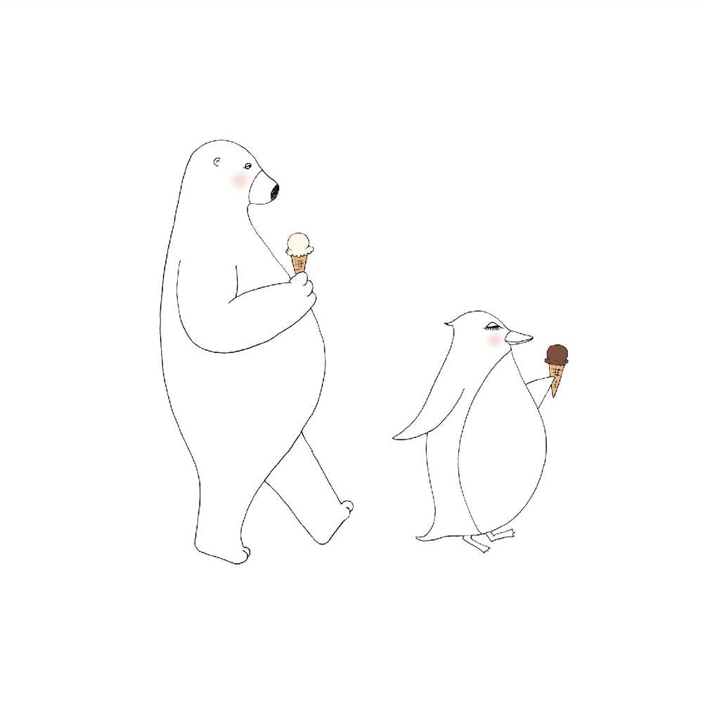 イラスト ペニーとラース アイスクリーム