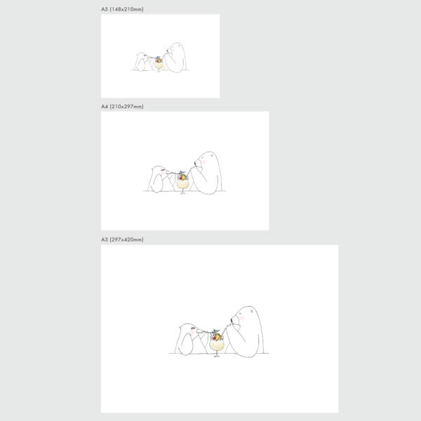 アートプリントのサイズ表 ペニーとラース ピニャコラーダ