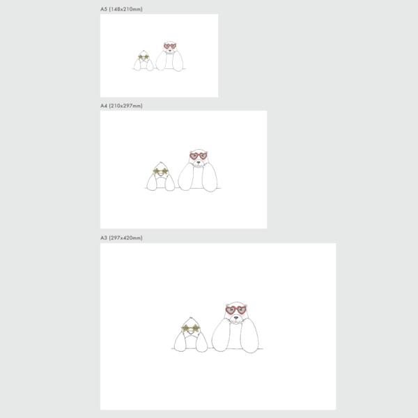 アートプリントのサイズ表 ペニーとラース サングラス