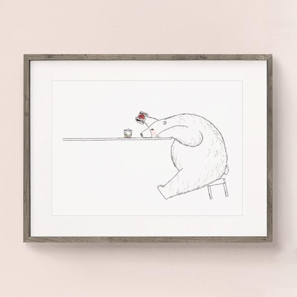 フレーム入りポスター シロクマとウィスキーのイラスト