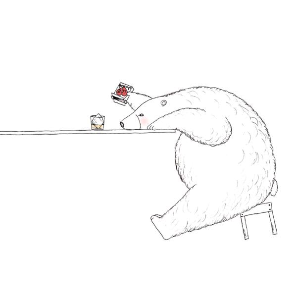 イラスト シロクマとウィスキー
