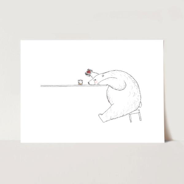 ポスター シロクマとウィスキーのイラスト