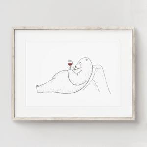フレーム入りポスター ワインを飲むシロクマのイラスト