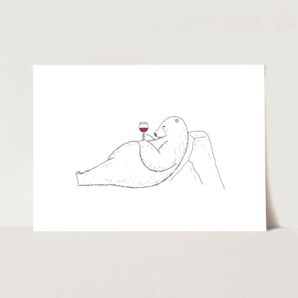 ポスター ワインを飲むシロクマのイラスト
