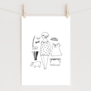 レトロな女の子(ボブ)のポスター