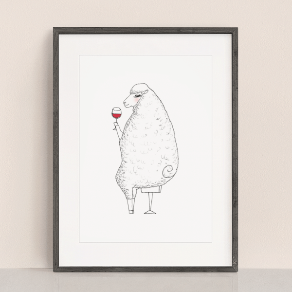 フレーム入りアートプリント ワインを飲むヒツジのイラスト