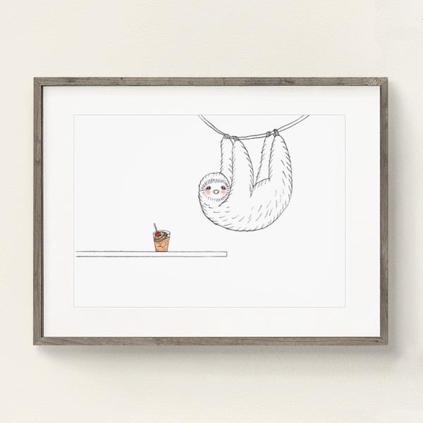 フレーム入りポスター ナマケモノのイラスト
