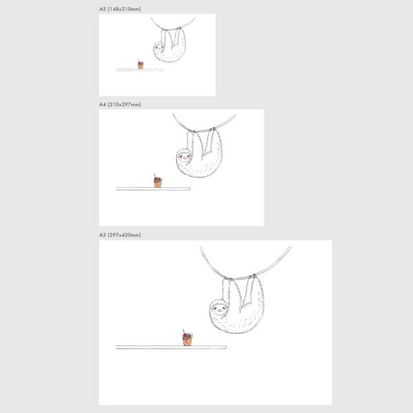 ナマケモノのポスターのサイズ表